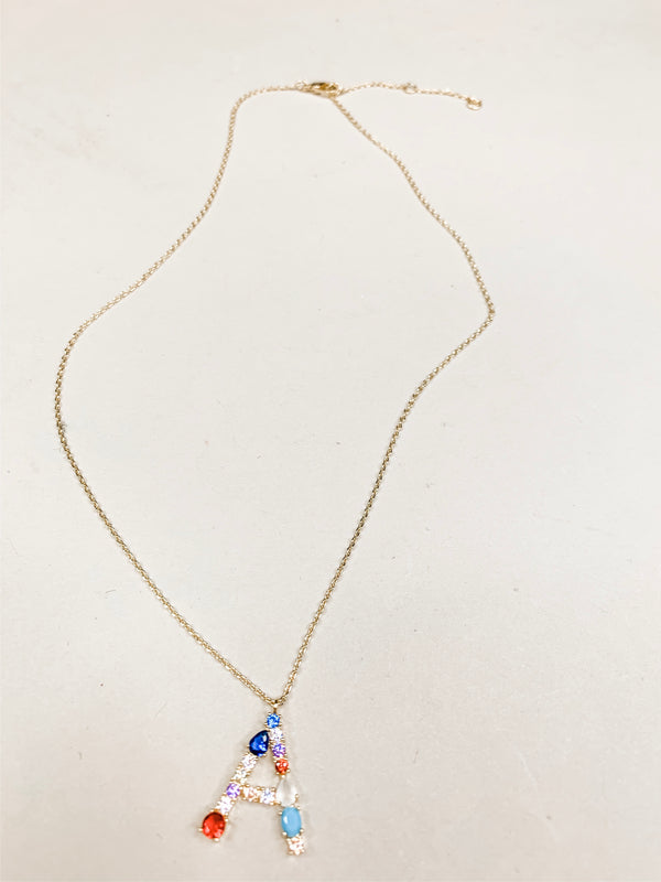 Gem Stone Initial Necklace