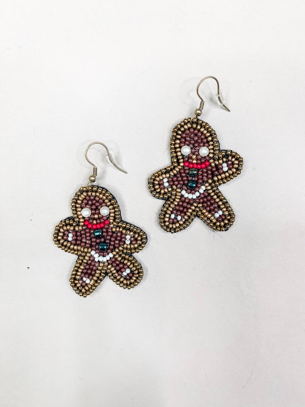 Gingerbread Man Drop Earring