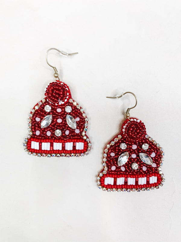 Winter Hat Drop Earring