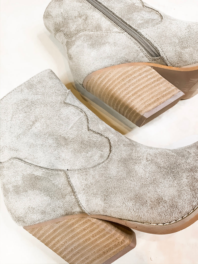 Vinya Gray Suede Booties