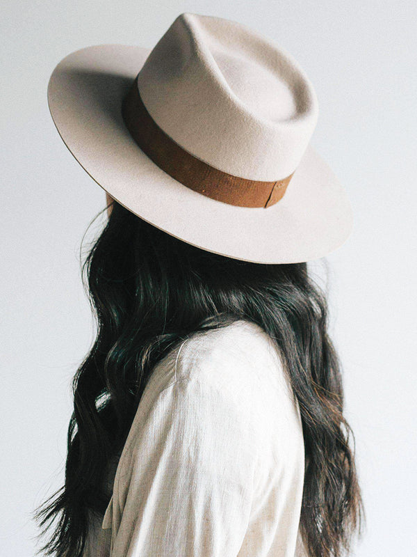 Gigi Pip Miller Ivory Pinched Crown Fedora with Brown Band