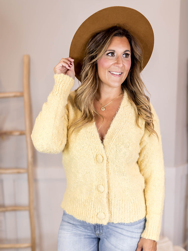 Yellow Large Button Cardi