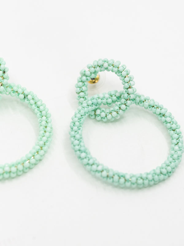 Aqua Beaded Earring