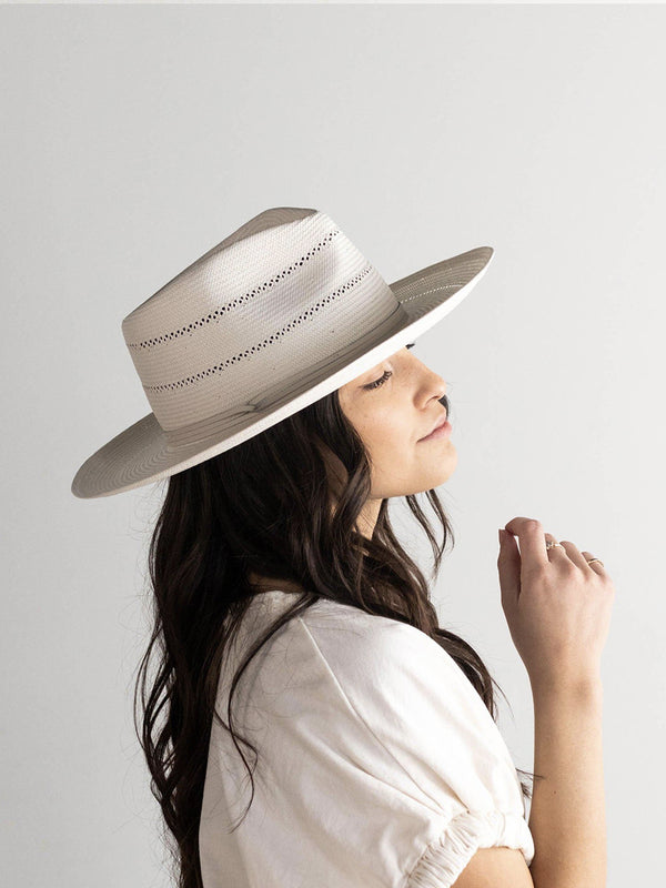 ARLO CREAM BAND - STRAW TEARDROP FEDORA