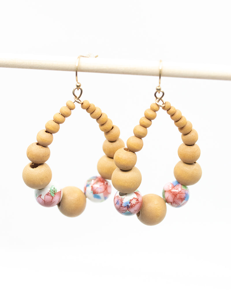 Wood Beaded Earring
