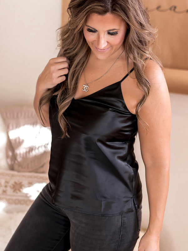 Midnight Satin Cami Tank