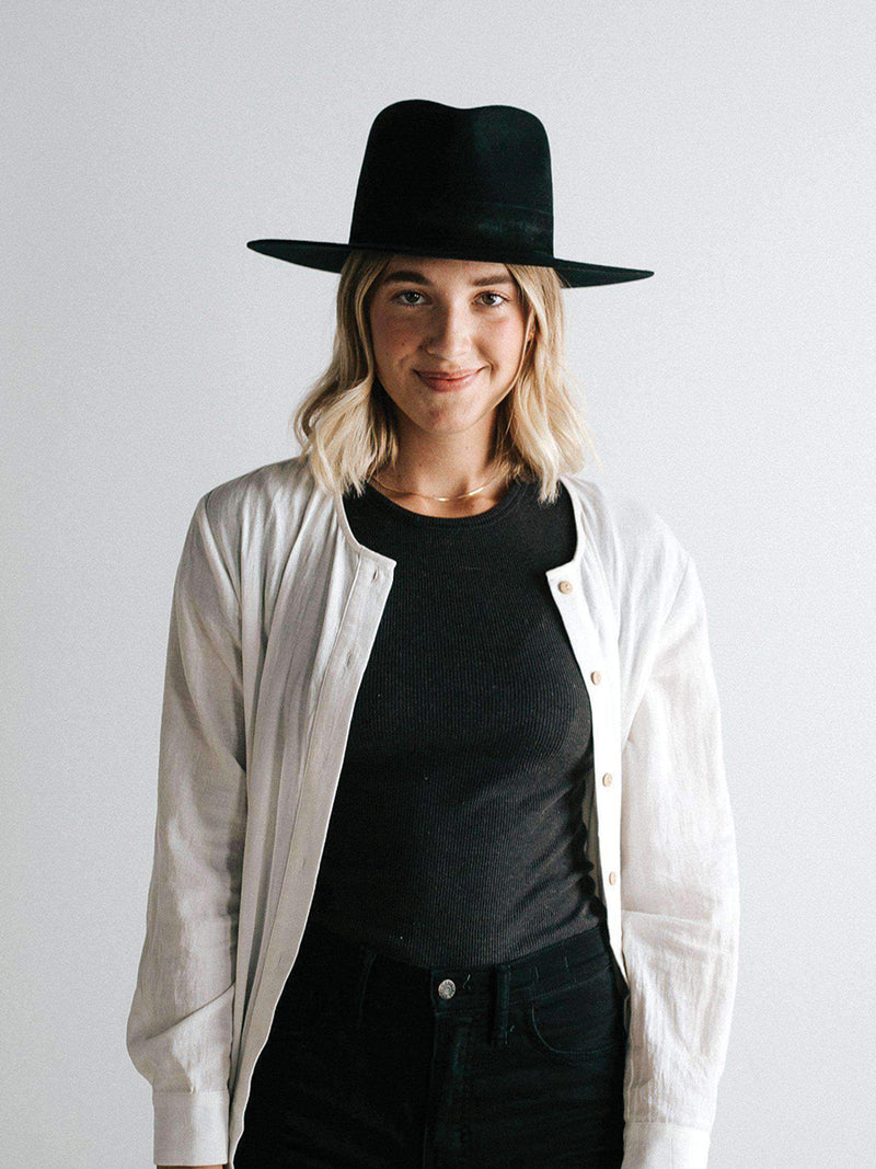 Gigi Pip Miller Black with Black Band Fedora