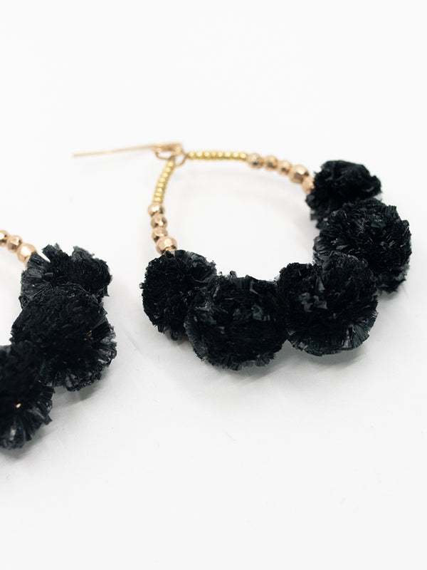 Black Pom Earrings