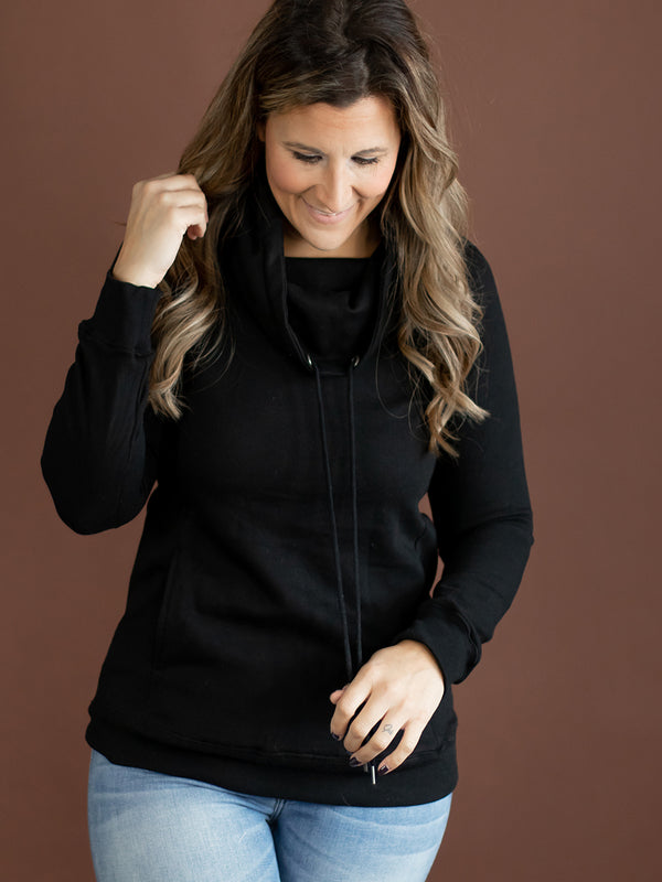 Terry Black Cowl Sweatshirt