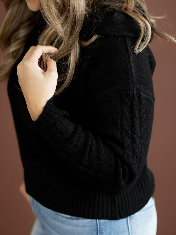 Lainey Black Knit Hoodie
