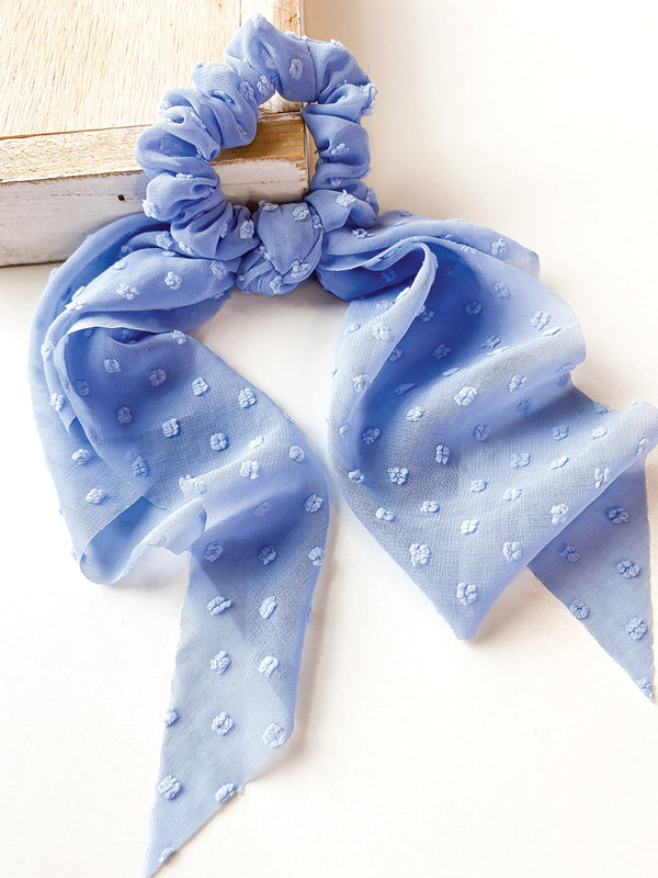 Blue Swiss Dot 2 in 1 Scrunchie
