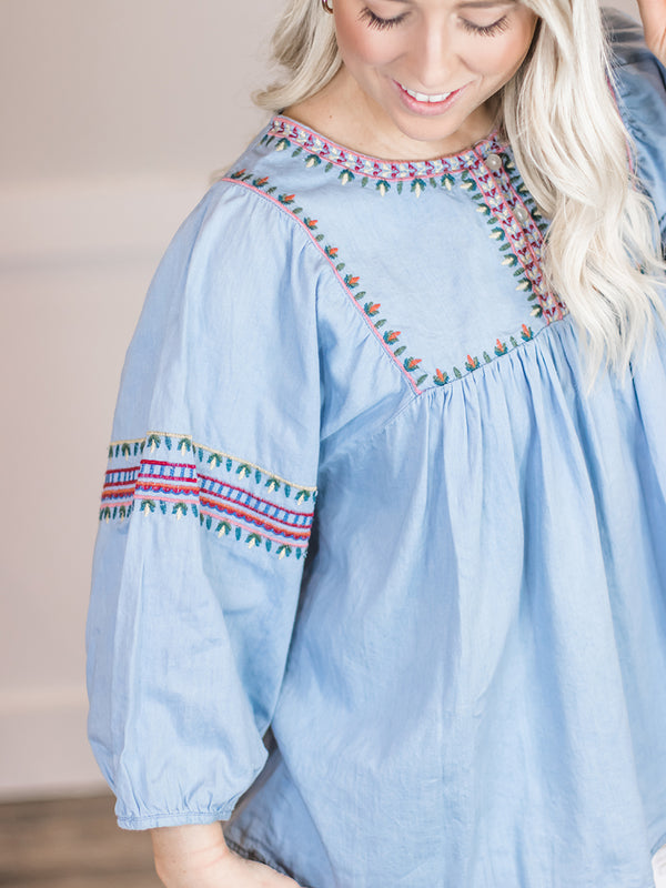 Zera Embroidered Denim Top