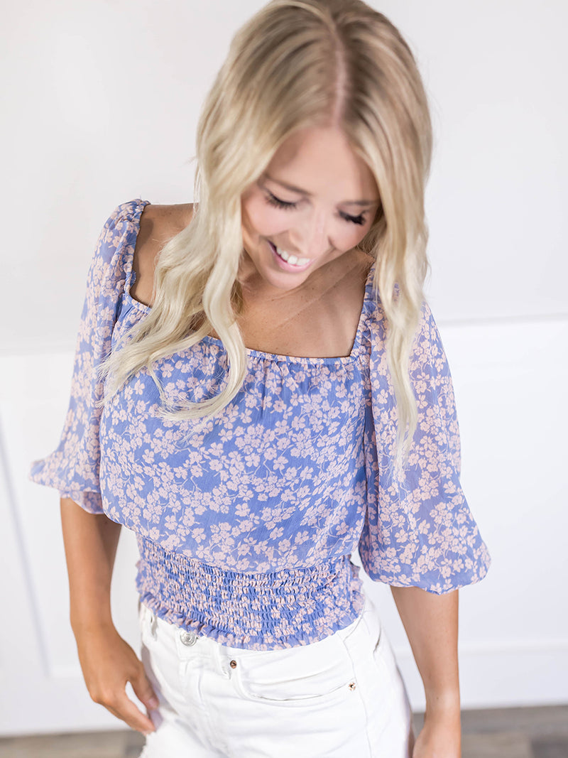 Pia Floral Square Neck Blouse