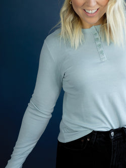 Everyday Powder Blue Cropped Henley