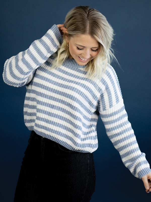 Baby Blue Chenille Stripe Sweater