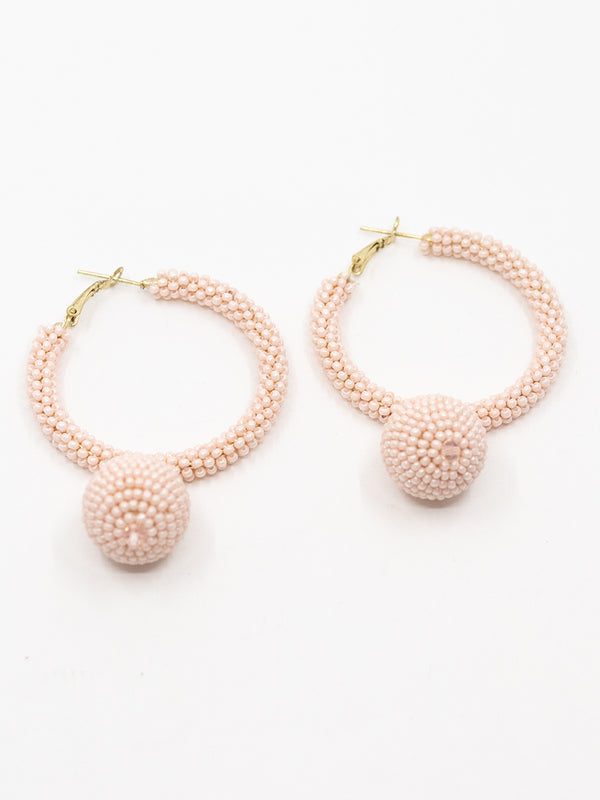 Beaded Hoop Drop Earring