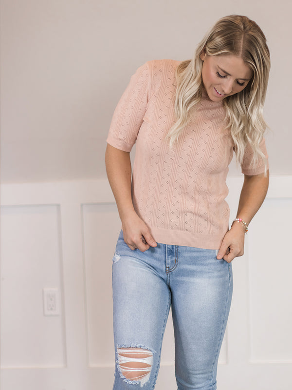 Myla Blush Short Sleeve Sweater
