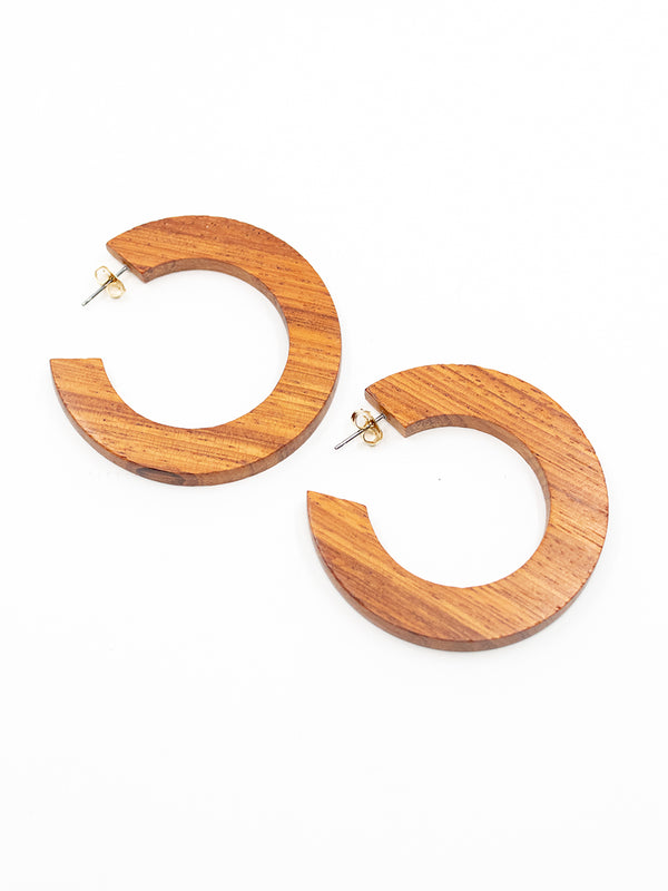 Wood Hoop Earring