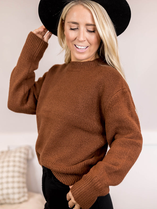 Gia Heathered Camel Pullover