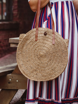 round brown woven bag