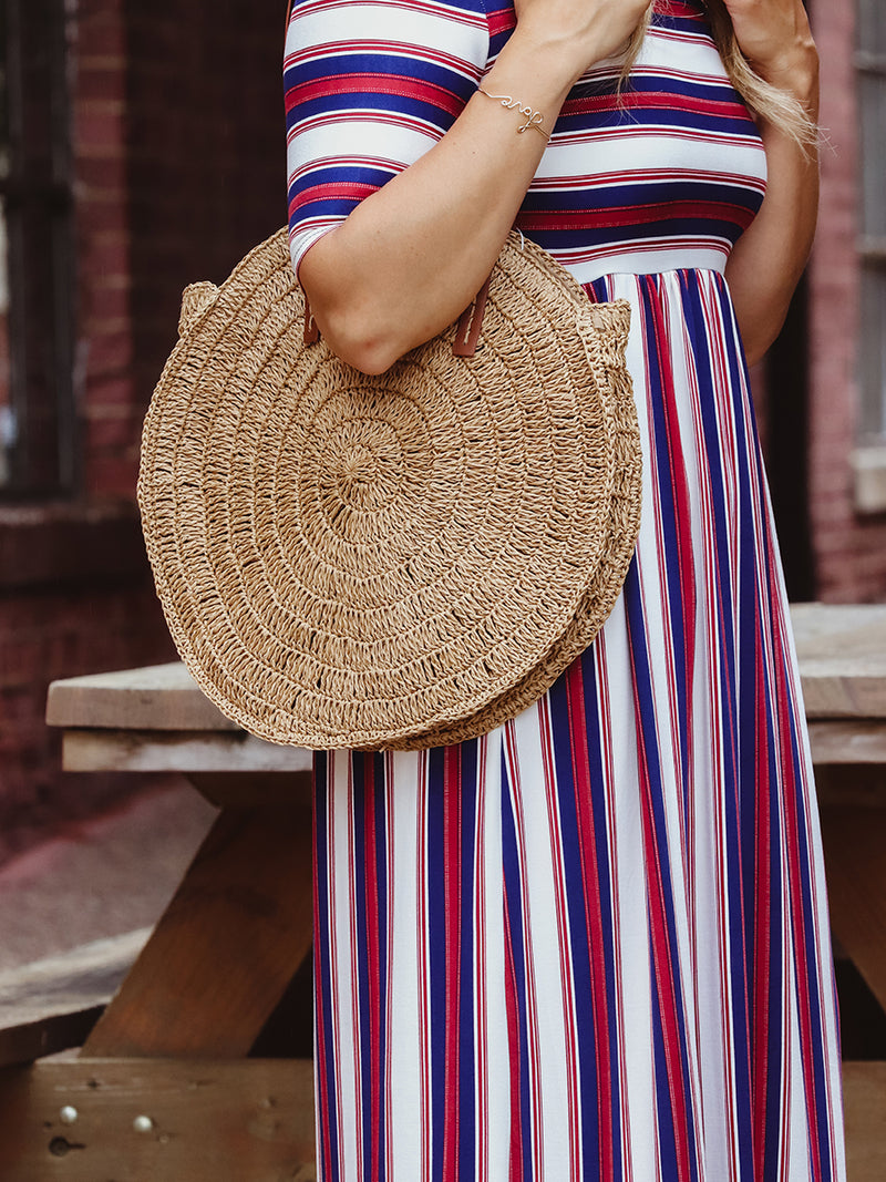 Light Brown Round Woven Bag