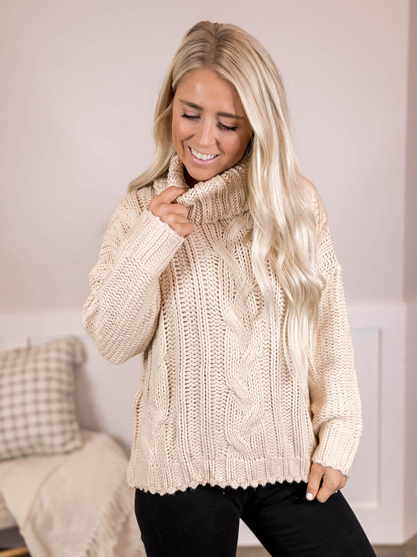 Cindy Chunky Cable Knit Sweater