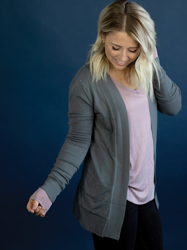 Dusty Grey Pocket Cardi