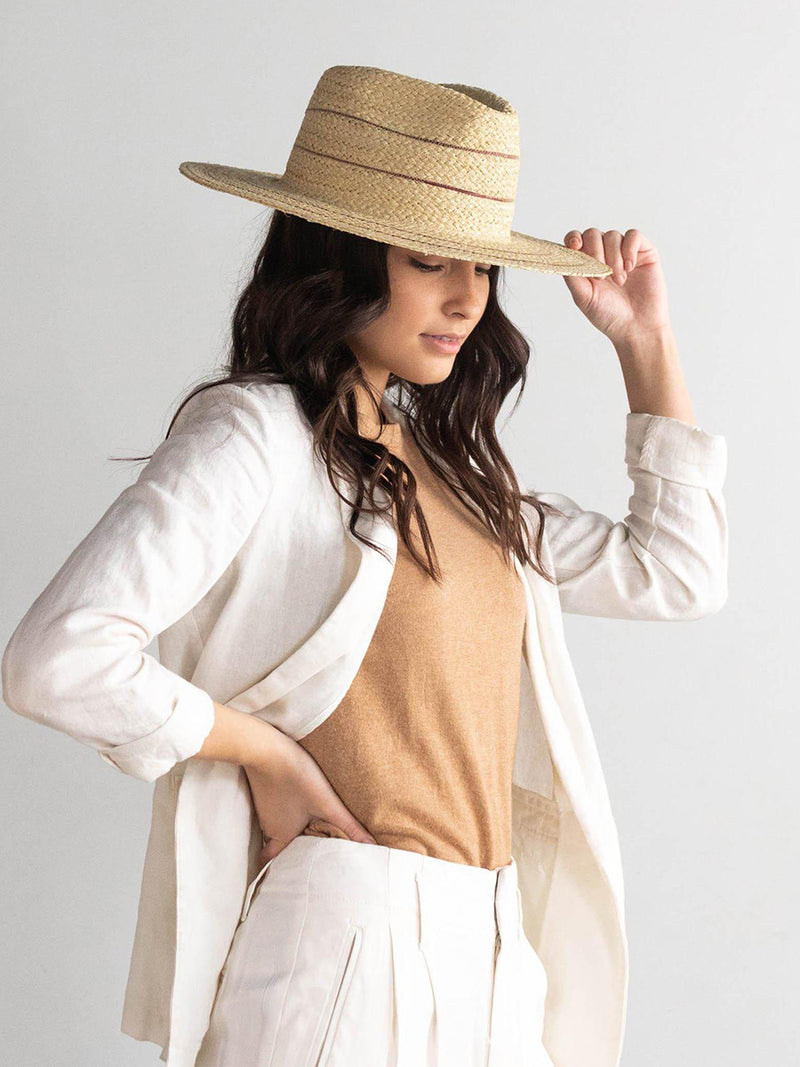 CAMILA Fedora - Natural straw with Stripes