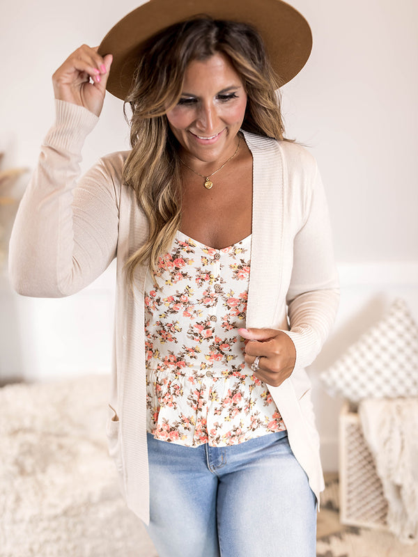 Cream Pocket Cardigan