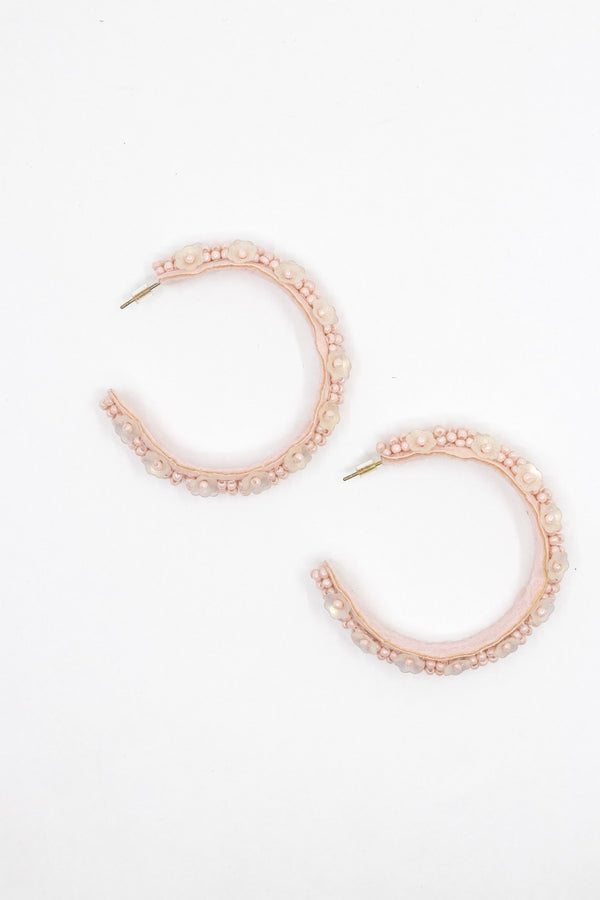Blush Floeal Beaded Hoop