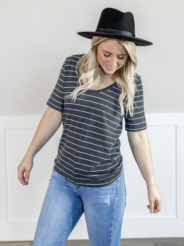 Everyday Charcoal Stripe Tee