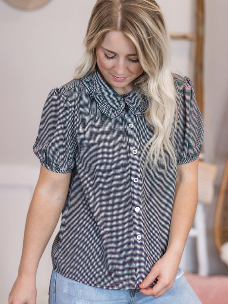 Jeanie Gingham Collared Blouse