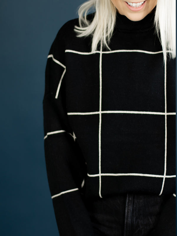 Black Checked Mock Neck Sweater