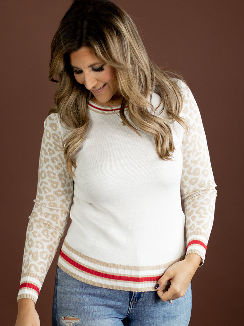 Ray Red + Tan Leopard Sweater