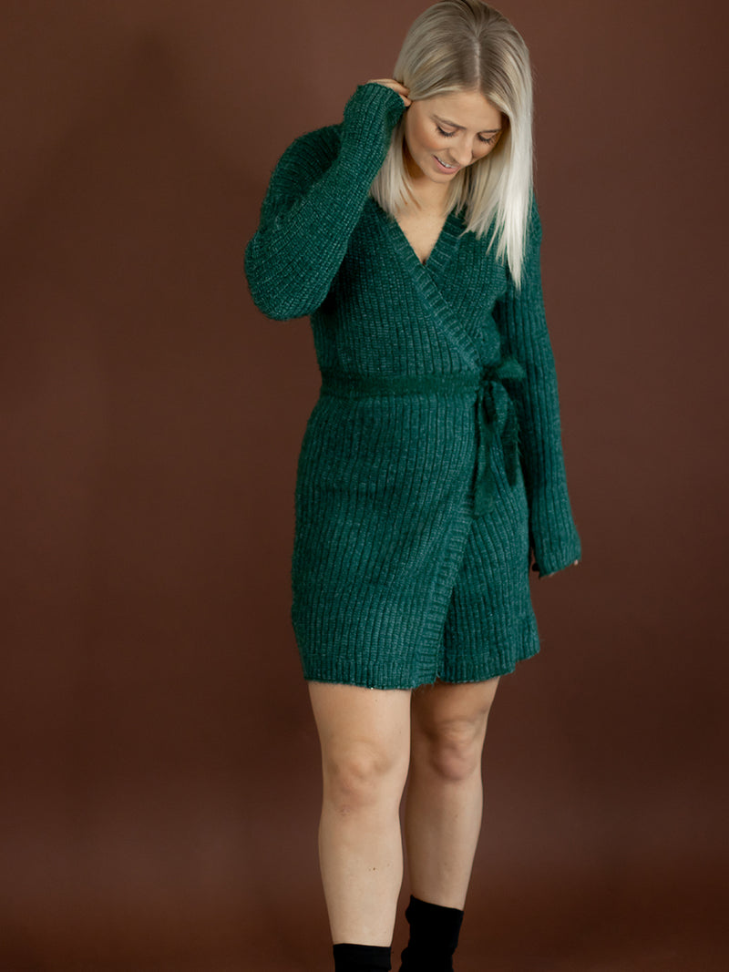 Hunter Green Fuzzy Wrap Tunic Dress
