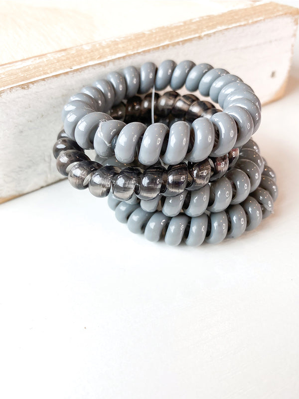 Grey Coil Hair Ties