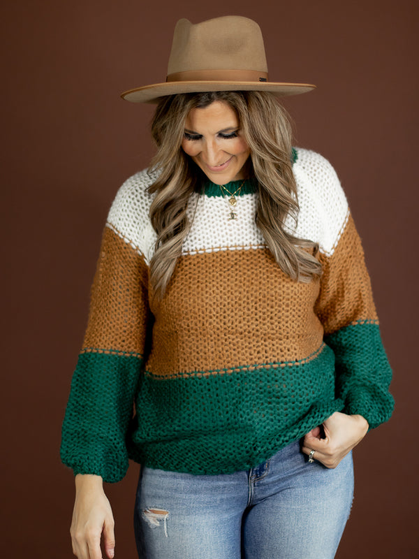 Finn Hunter + Camel Knit Colorblock Sweater