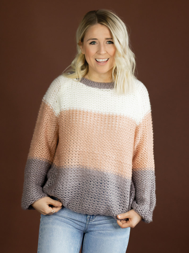 Pippa Wide Knit Colorblock Sweater