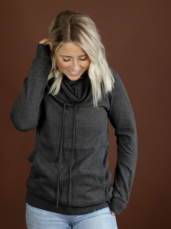Cozy Heather Charcoal Cowl Sweatshirt