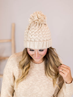 Cream Basketweave Beanie