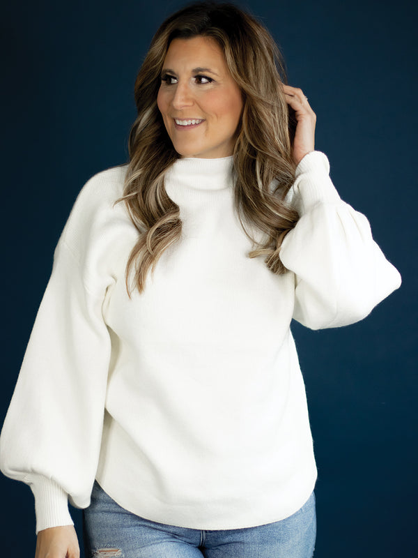 Wren Cream Mockneck Sweater