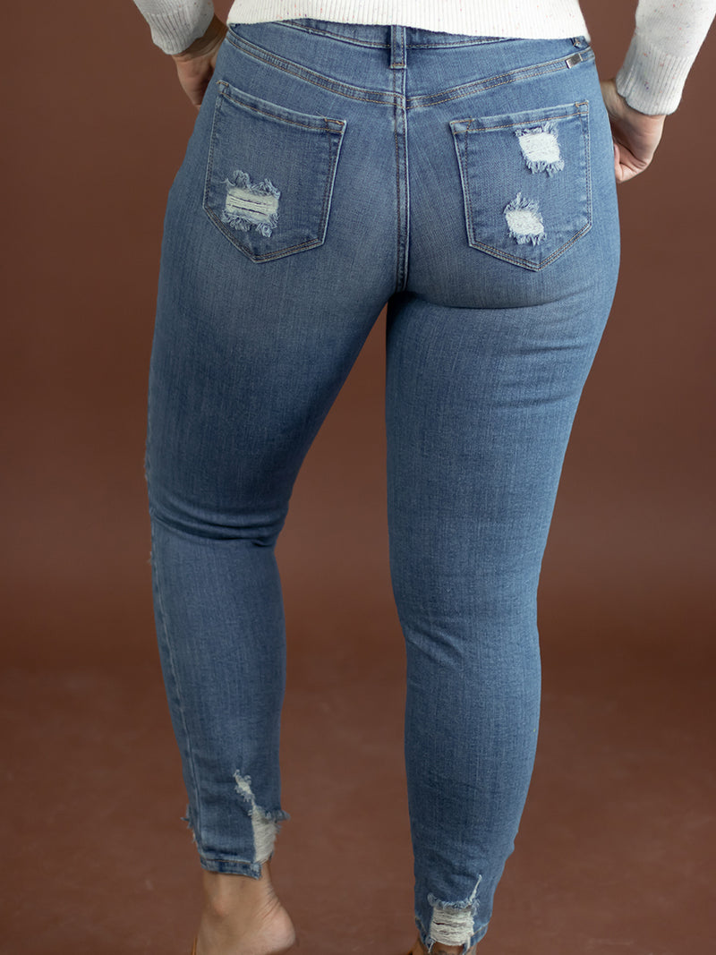 Kancan Distresses High Rise Ankle Skinny Jean