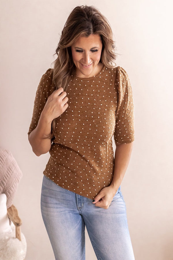 Lacey Puff Sleeve Sweater Top