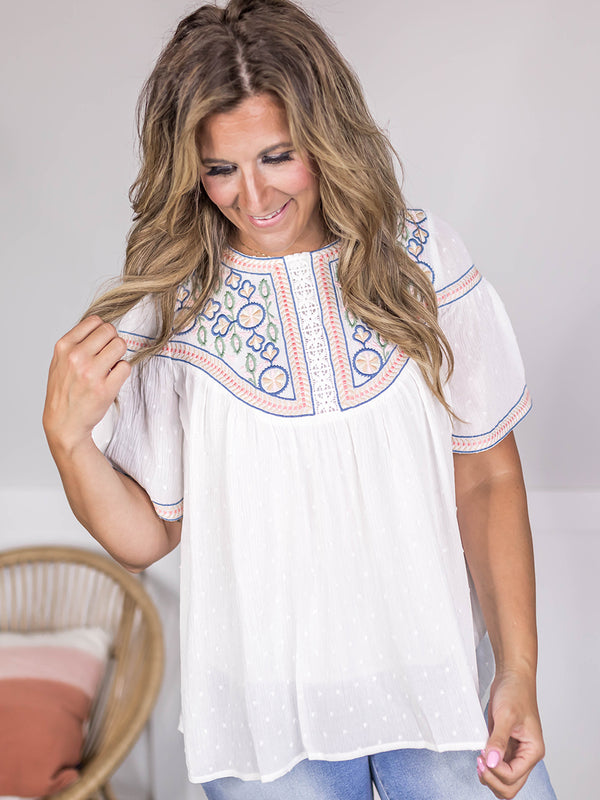 Fern Embroidered Flowy Blouse