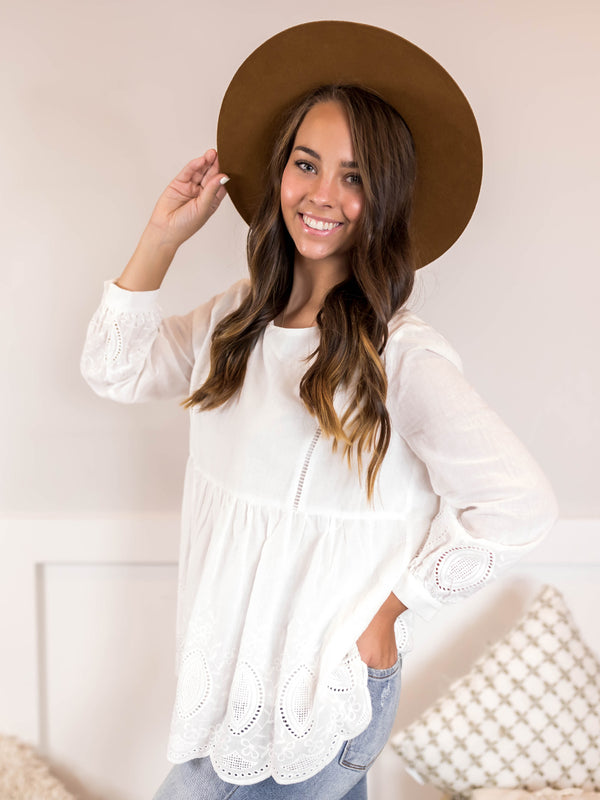 Sofia Ivory Textured Blouse
