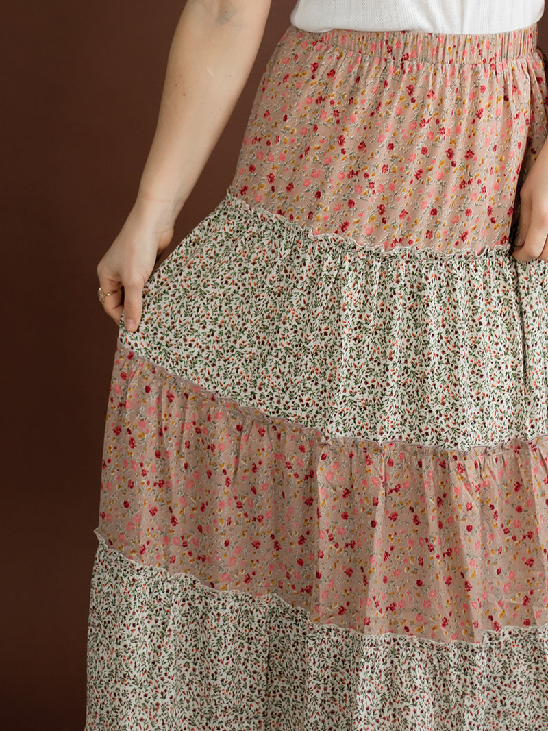Layla Floral Tiered Midi Skirt