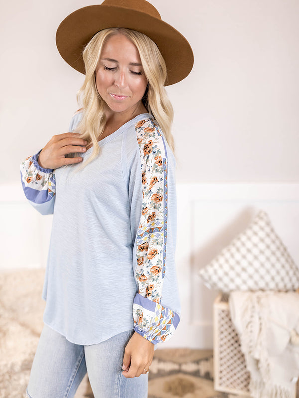 Aina Pattern Sleeve Blouse
