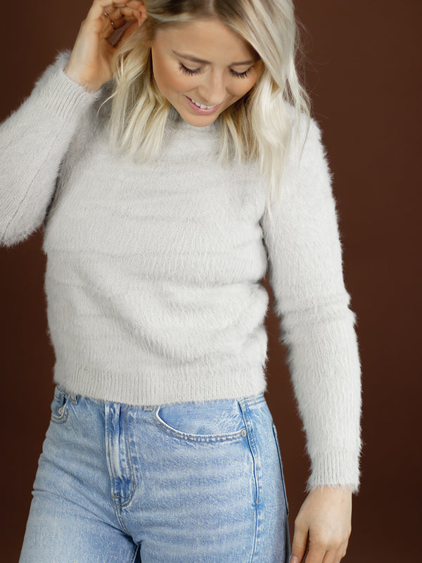 Fuzzy Light Grey Sweater
