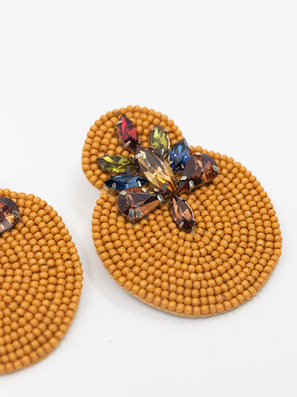 Beaded Gem Drop Earring