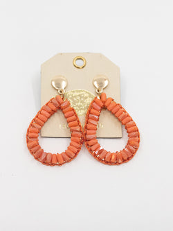 Orange/Red Gem Drop Earring